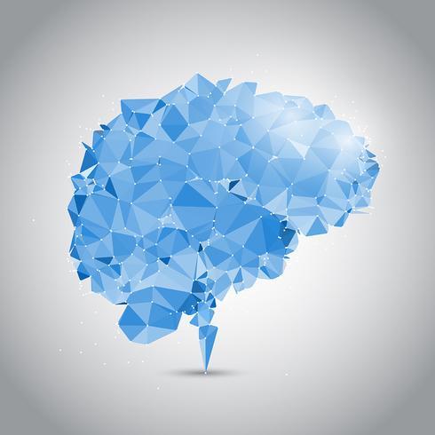 Låg poly hjärna med anslutande prickar vektor