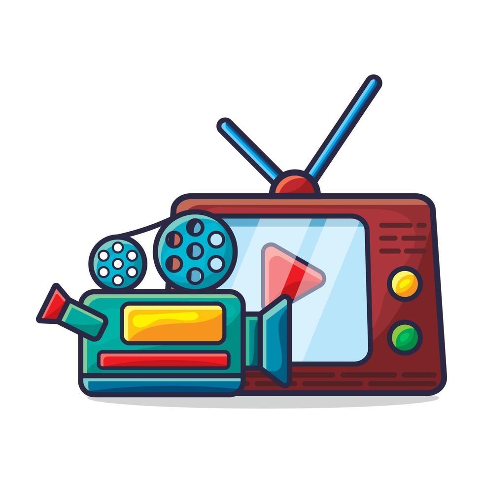 kamera och TV för att titta på filmkonceptillustration vektor