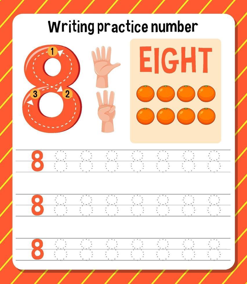 skrivpraxis nummer 8 kalkylblad vektor