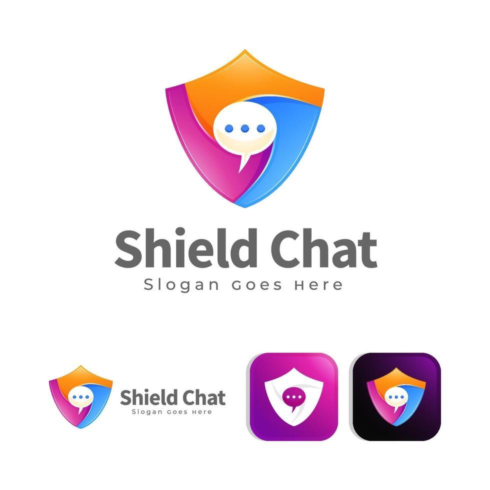 sköld chatt logotyp designkoncept vektor