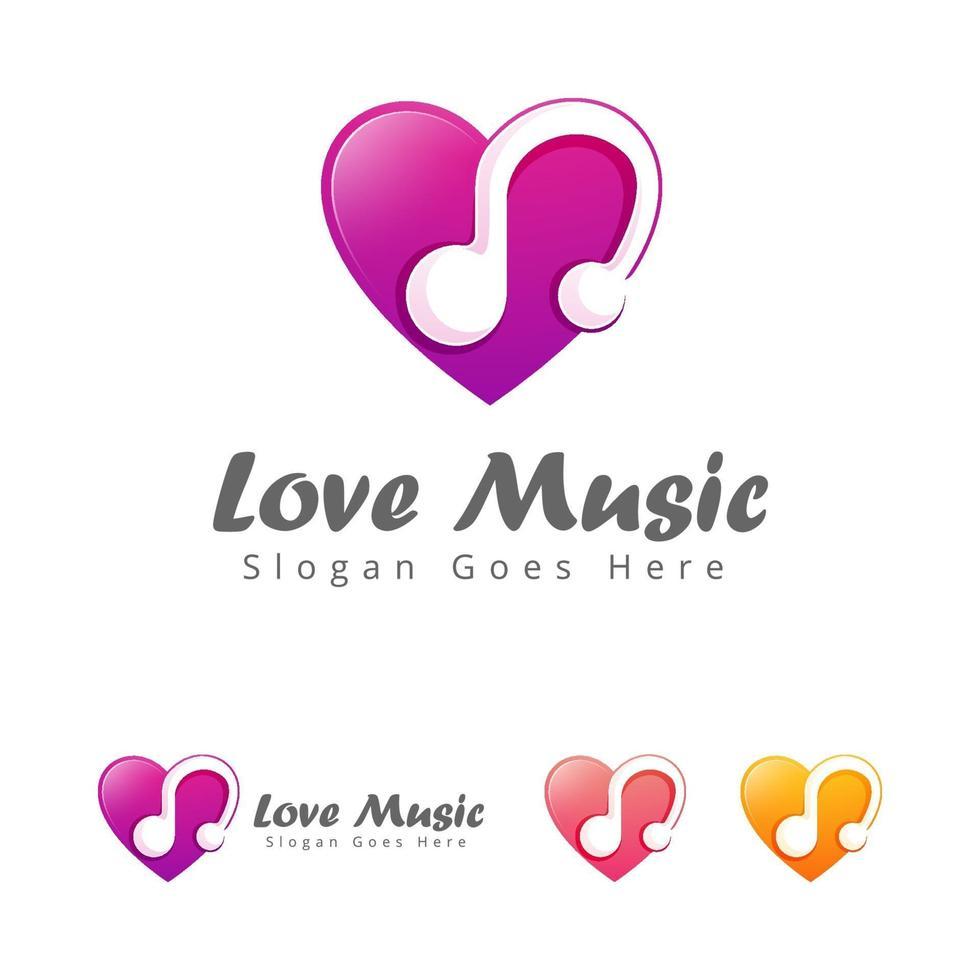 Liebe Musik Logo Design-Vorlage vektor