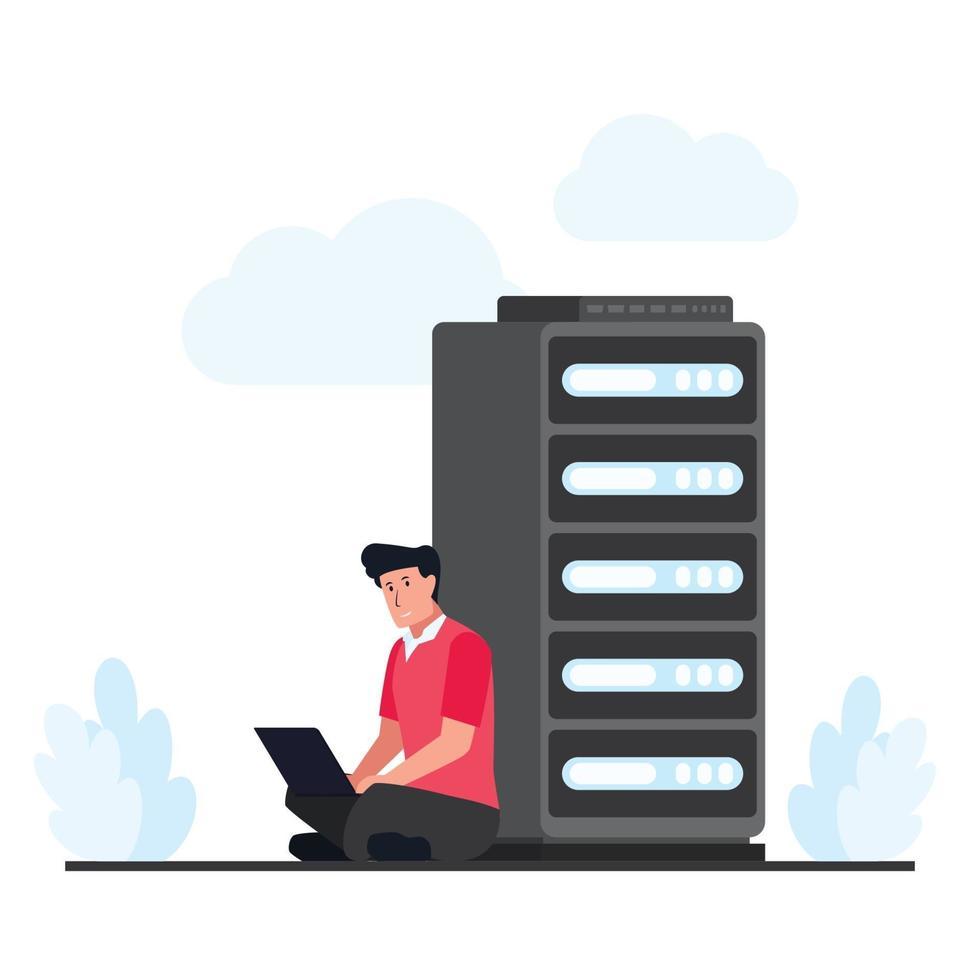 Mann sitzt und repariert das Cloud-Hosting im Server vektor