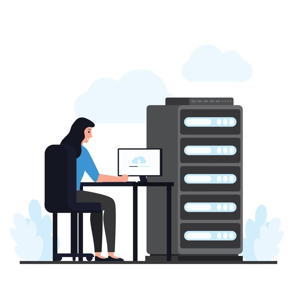 Frau sitzt am Tisch und überprüft den Cloud-Hosting-Server vektor