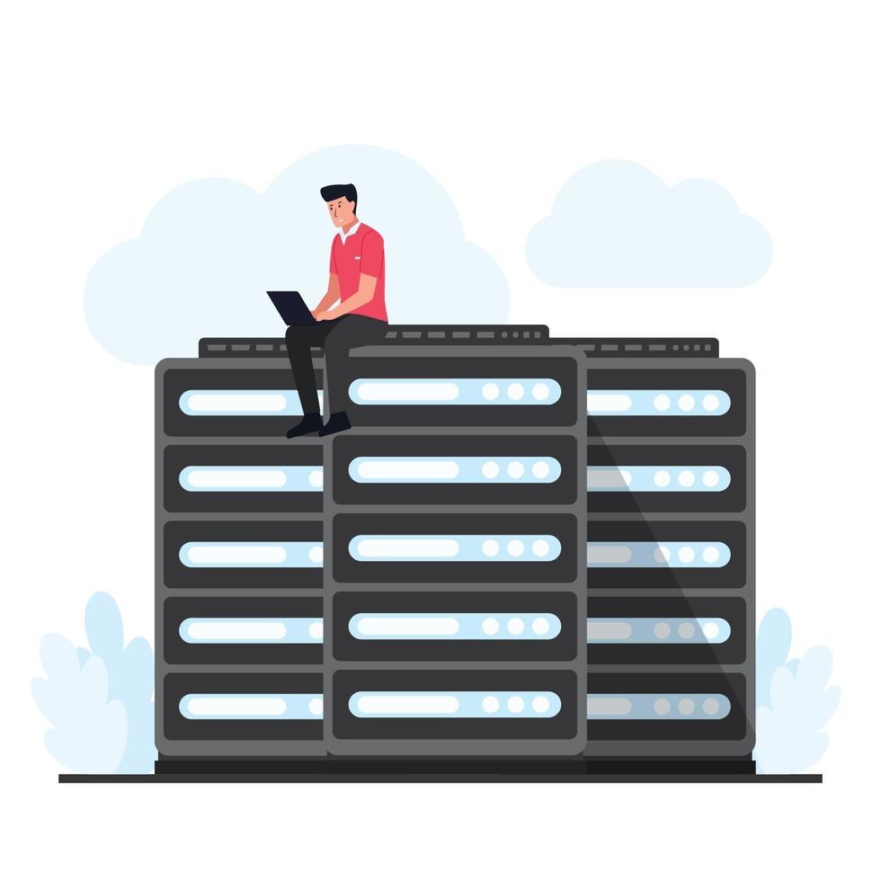 Mann sitzt und aktualisiert den Cloud-Hosting-Server vektor