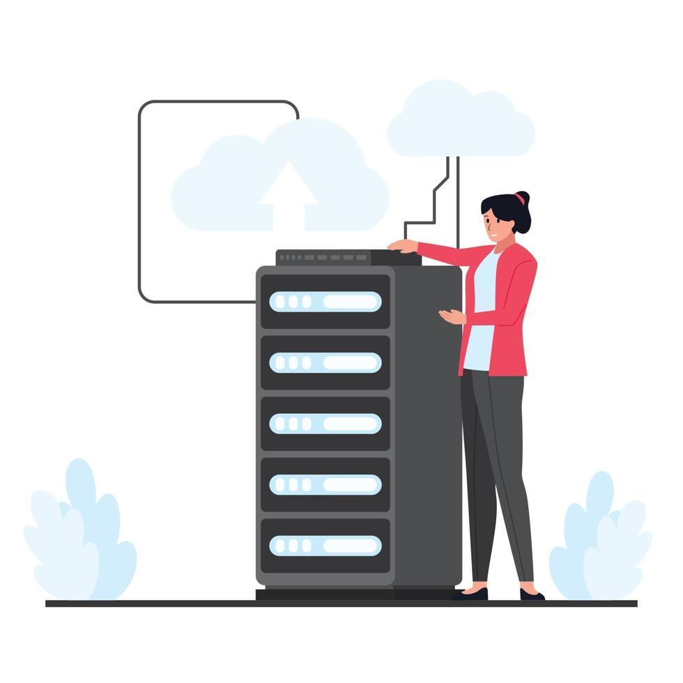 Frau präsentiert großen Cloud-Hosting-Server vektor