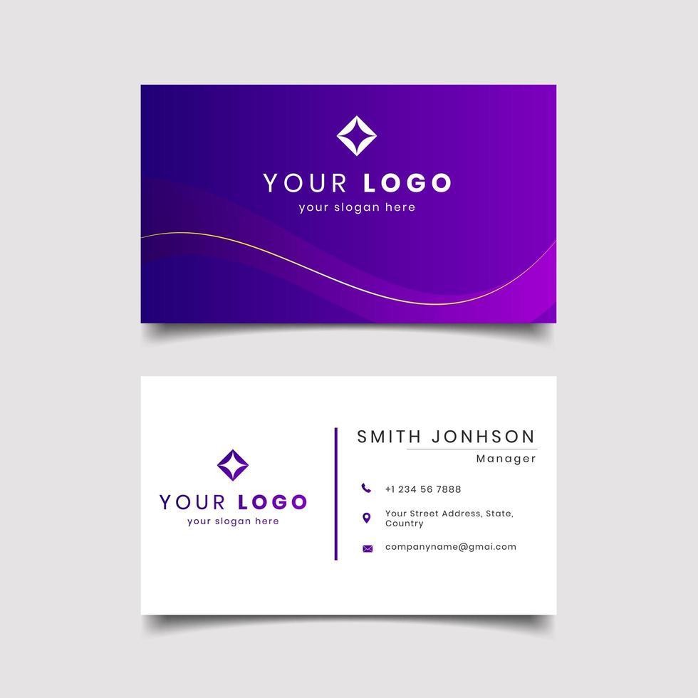 violett lutning modernt kreativt visitkort och namnkort vektor