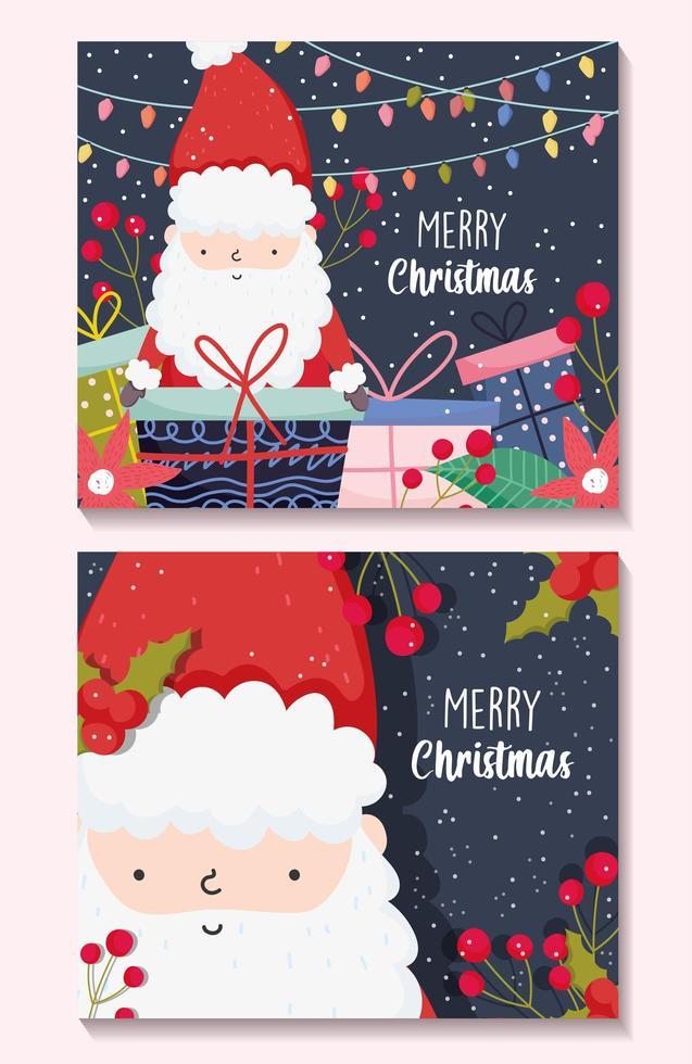Frohe Weihnachten Plakat gesetzt mit glücklichen Weihnachtsmann vektor