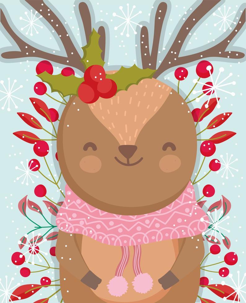 süßes Winterrentier mit Beeren und Laub vektor