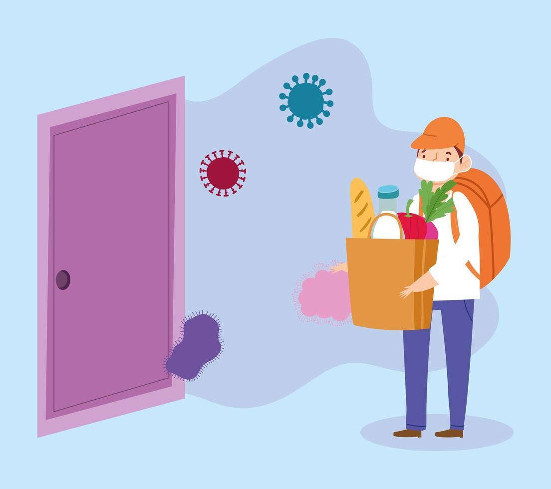 Konzept der sicheren Zustellung während des Coronavirus vektor