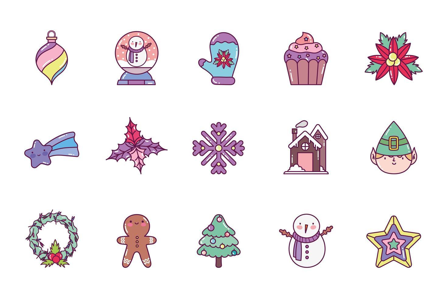 Frohe Weihnachten Icon Set vektor