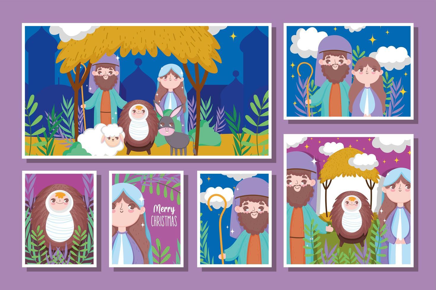 Frohe Weihnachten und Krippe mit heiliger Familie vektor