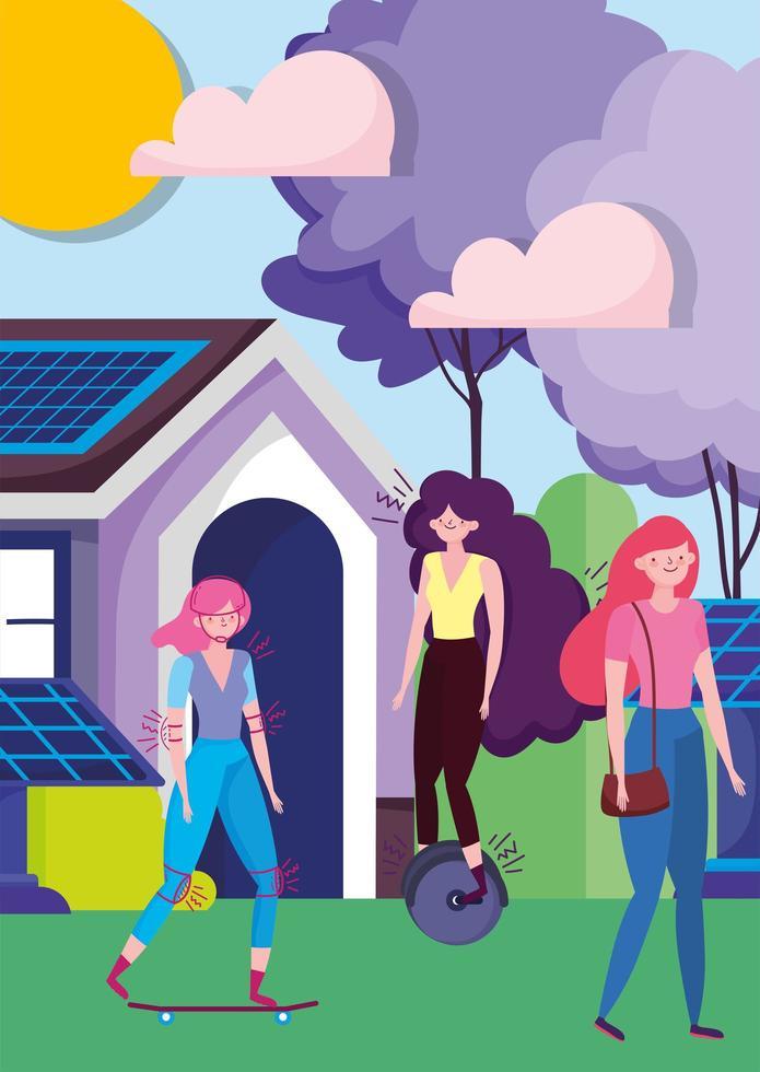 Frauen, die Outdoor-Aktivitäten in einer Öko-Stadt machen vektor