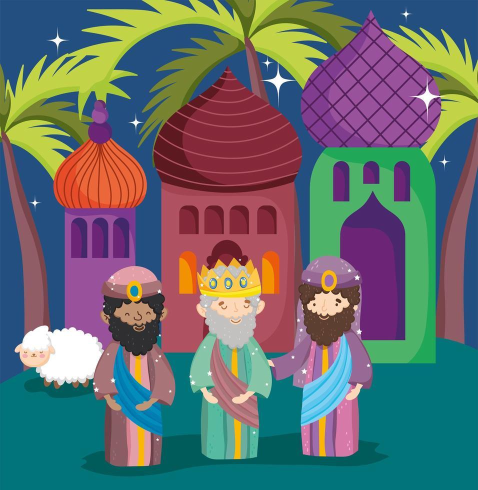 Frohe Weihnachten und Krippe Poster mit den drei Magiern vektor