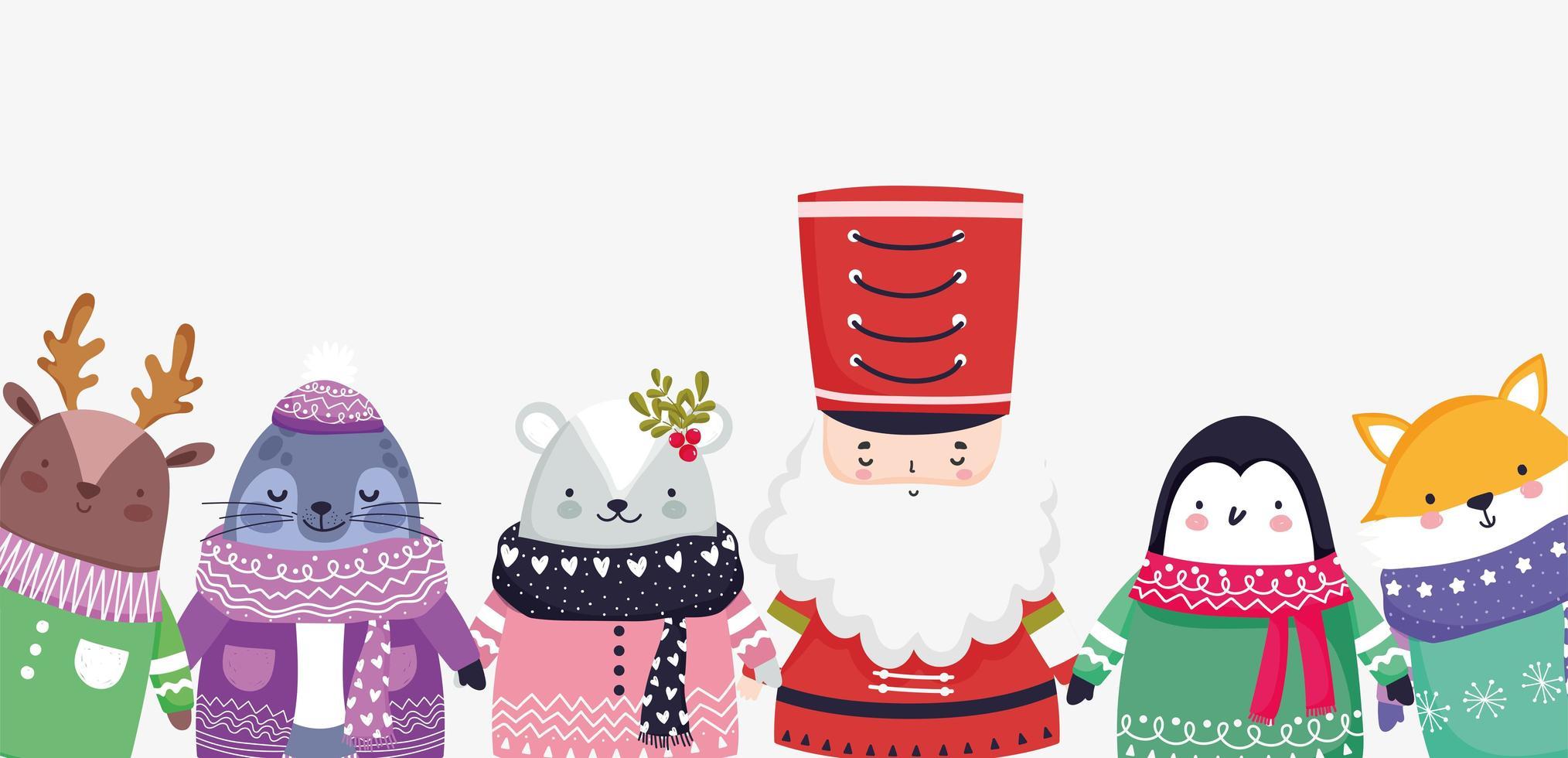 Frohe Weihnachten Plakat mit glücklichen Charakteren vektor