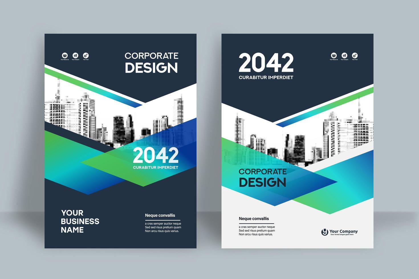 Stadt Hintergrund Business Book Cover Design-Vorlage vektor