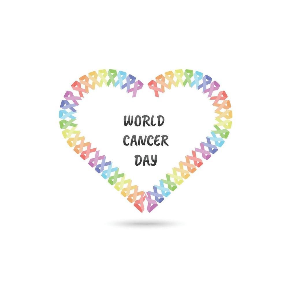 Weltkrebstag Banner mit Herzform aus buntem Band vektor