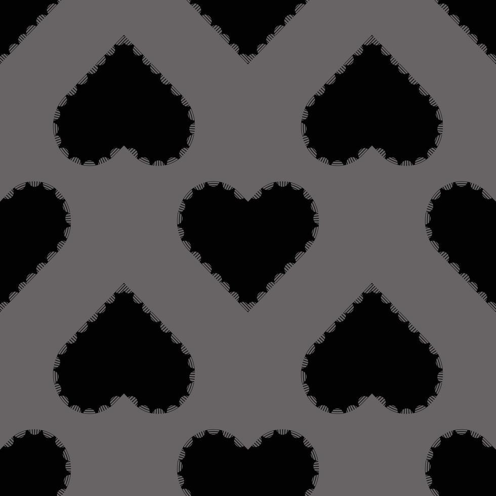 sömlös valentin mönster bakgrund med svart hjärta stämpel vektor