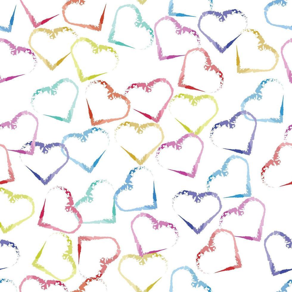 nahtloser Hintergrund des Valentinsgrußmusters mit mehrfarbigem Herzformstempel vektor