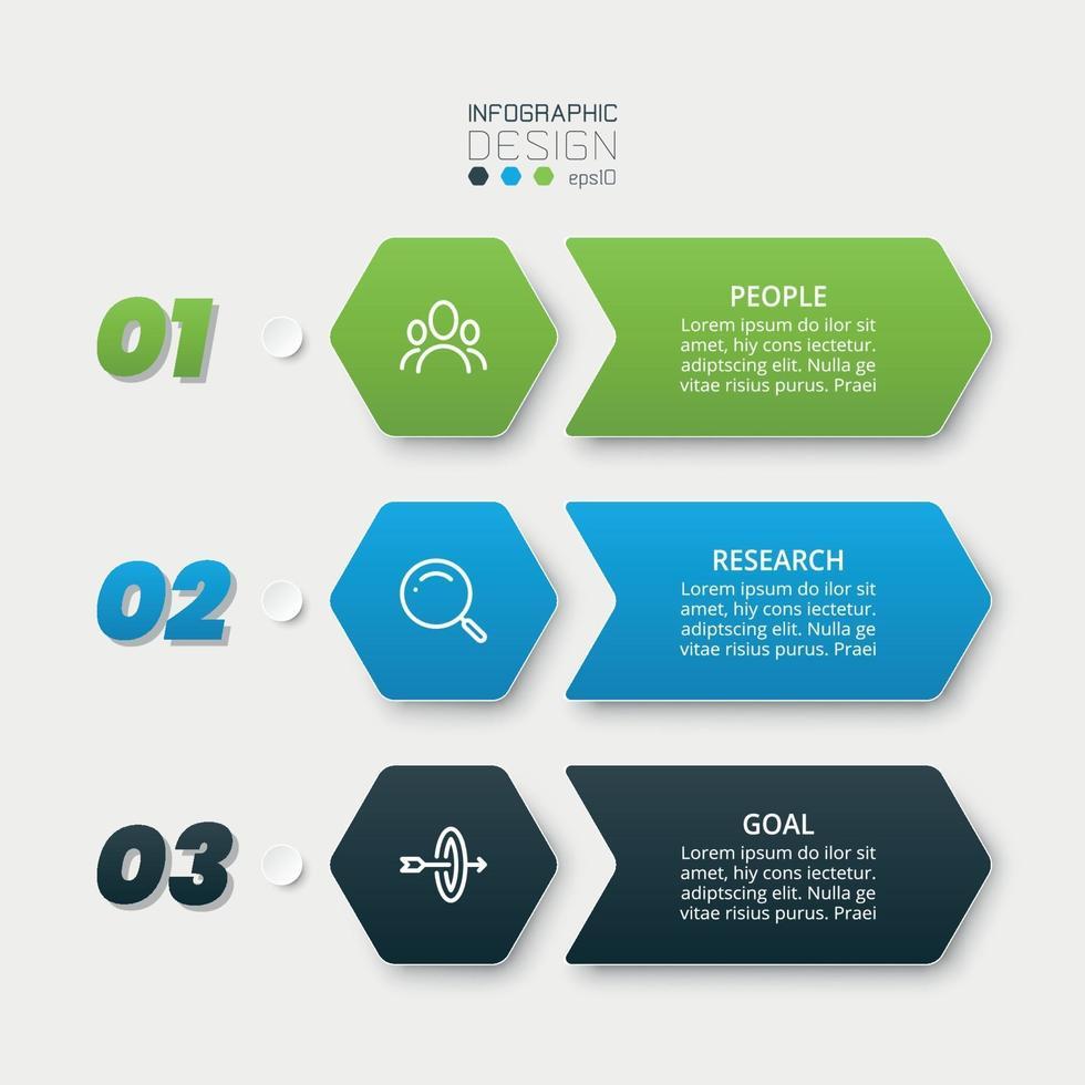 Sechseck-Design, 3 Schritte zur Analyse oder Vorbereitung der Arbeit in verschiedenen Unternehmen oder Organisationen. vektor