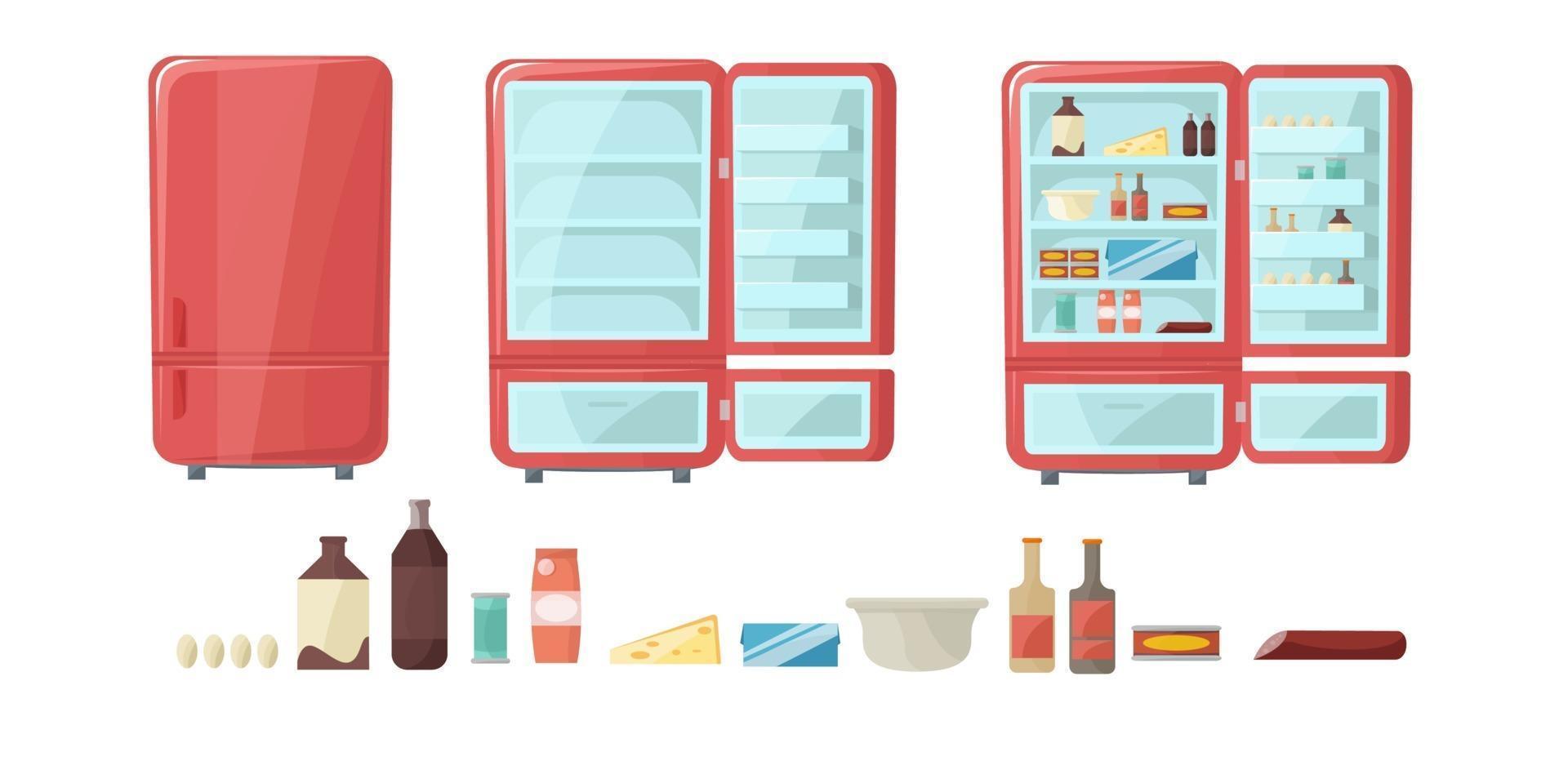 Kühlschrank voller Lebensmittel. leeres und geschlossenes Kühlschrankset. Kühler öffnen. Vektorillustration im Cartoon-Stil. vektor