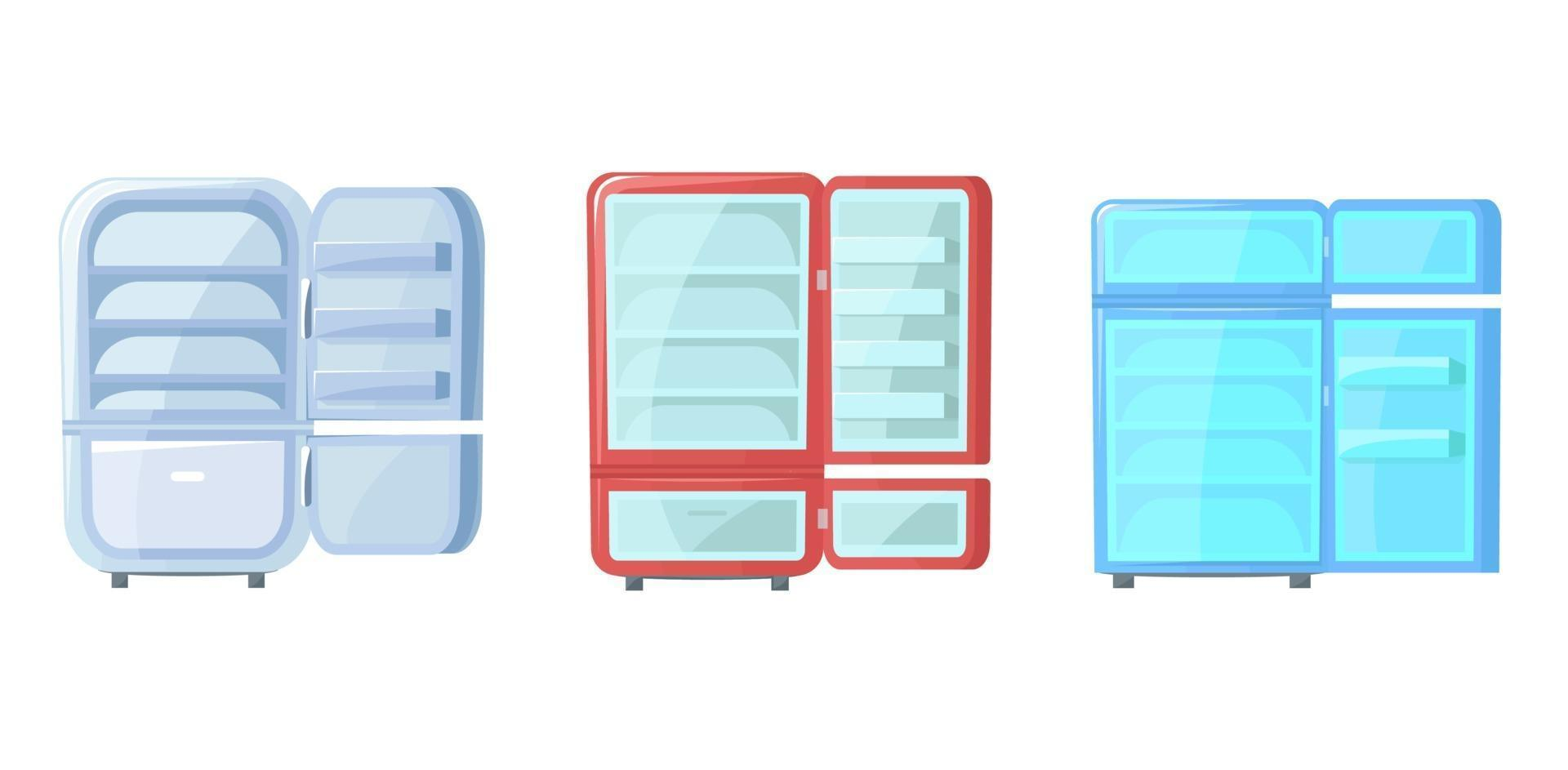Satz offener leerer Kühlschrank. kostenlos verschiedene Kühlschränke. Vektorillustration im Cartoon-Stil. vektor