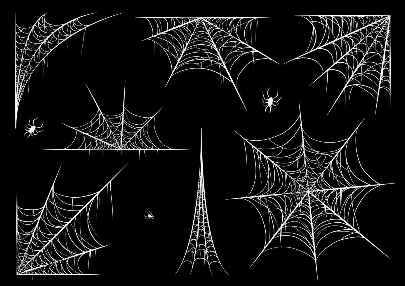Spinnennetz gesetzt, lokalisiert auf schwarzem transparentem Hintergrund. Spinnennetz für Halloween, gruselig, gruselig, Horror Dekor mit Spinnen. vektor