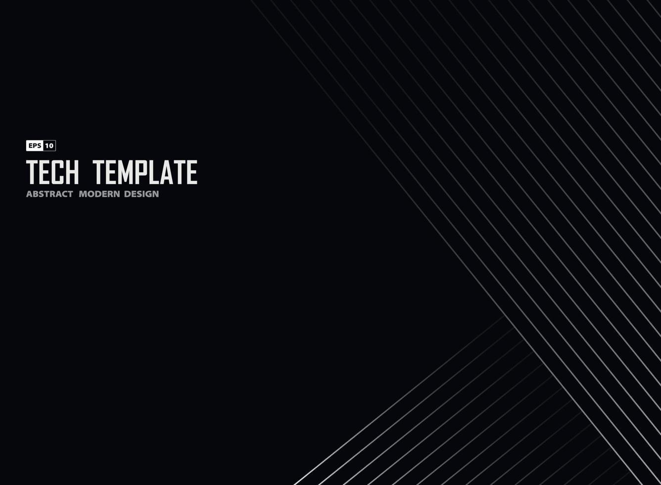 abstrakte weiße Linie Tech-Streifen auf schwarzem Hintergrund Design-Vorlage. Illustrationsvektor vektor