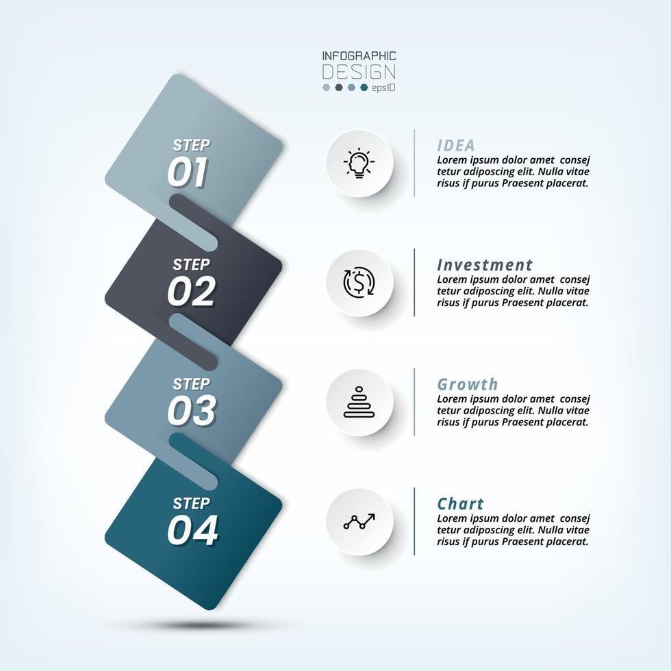 4 Schritte zur Erläuterung der Arbeit und zur Berichterstattung über die Ergebnisse sowie zur Präsentation verschiedener Informationen. vektor