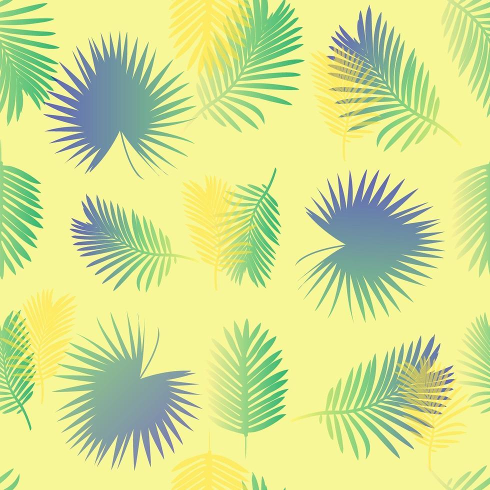 buntes Palmblattmuster mit gelbem Hintergrund vektor