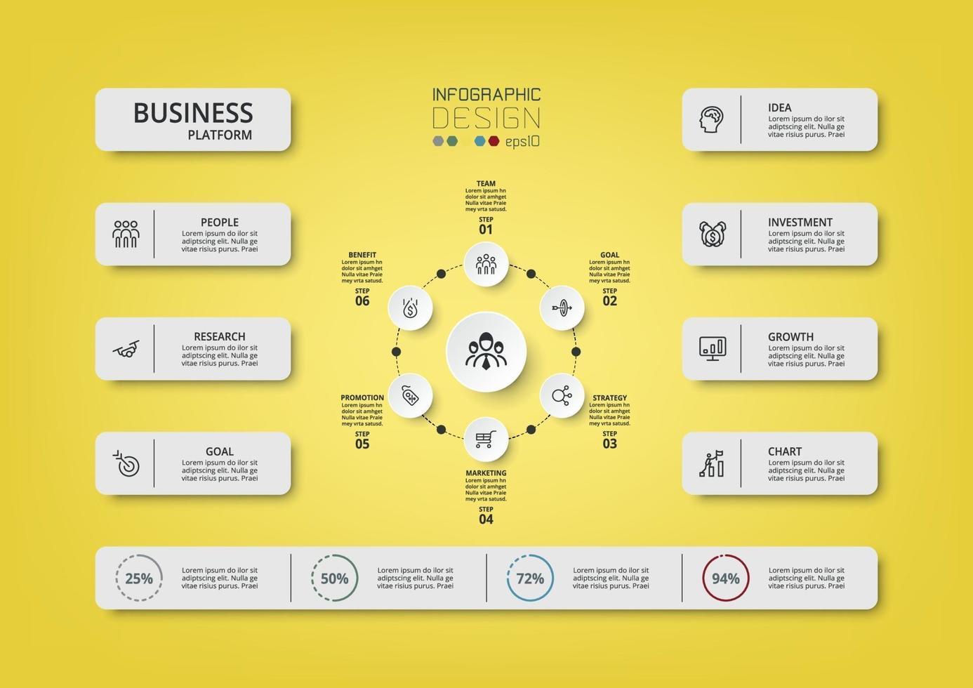 Geschäftsplattform zur Analyse verschiedener Prozesse für Organisationen zur Präsentation von Plänen. vektor