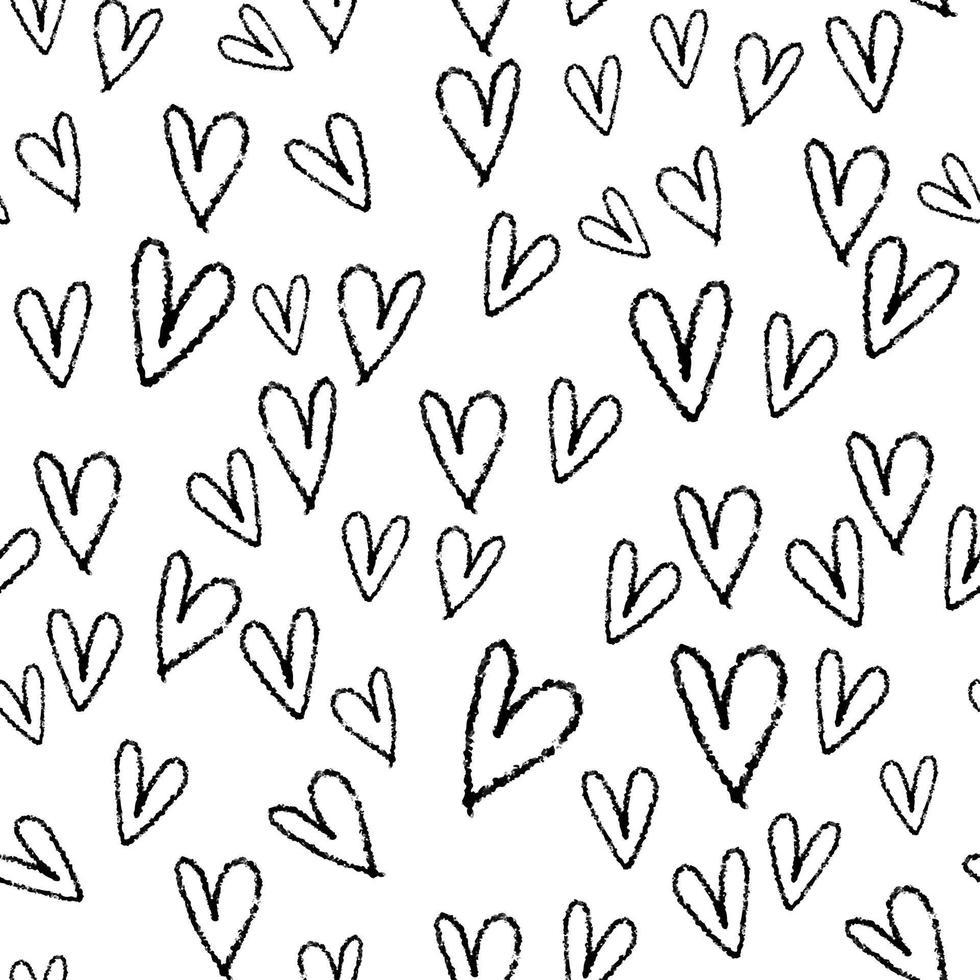 nahtloser Valentinstag Musterhintergrund von Gekritzelhand zeichnen Herzform vektor