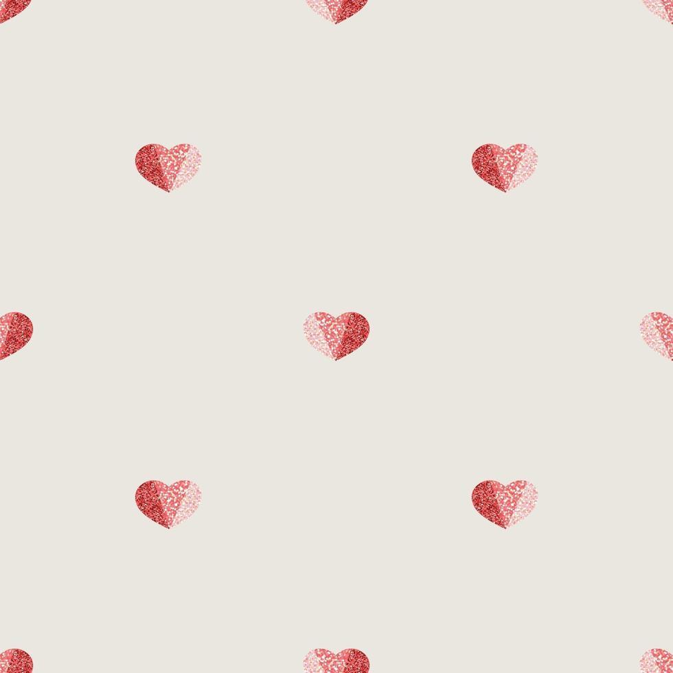 sömlös alla hjärtans dag mönster bakgrund med tricolor glitter hjärtat stämpel vektor