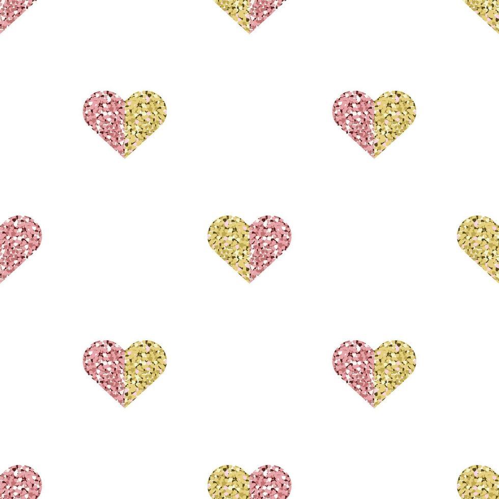 sömlös alla hjärtans dag mönster bakgrund med två ton färg glitter hjärtat stämpel vektor
