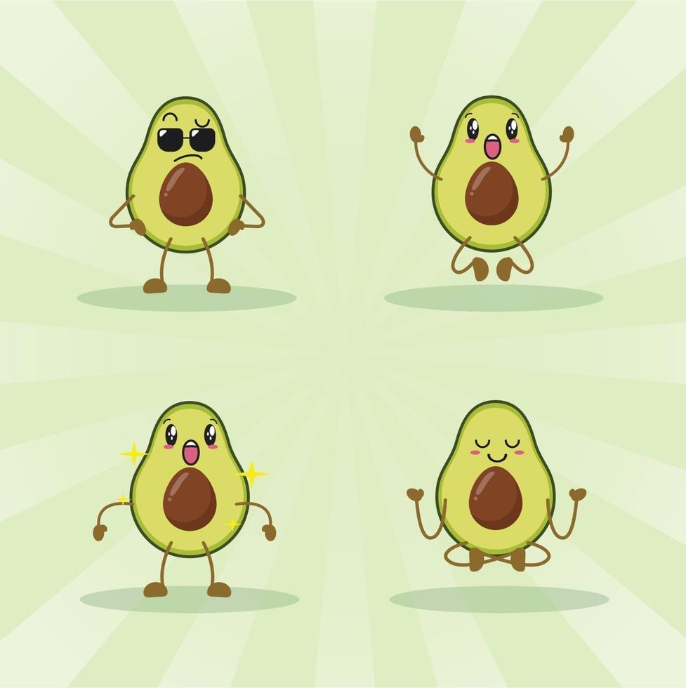 Avocado niedlichen Ausdrucksset Sammlung. Avocado-Maskottchen-Charakter vektor