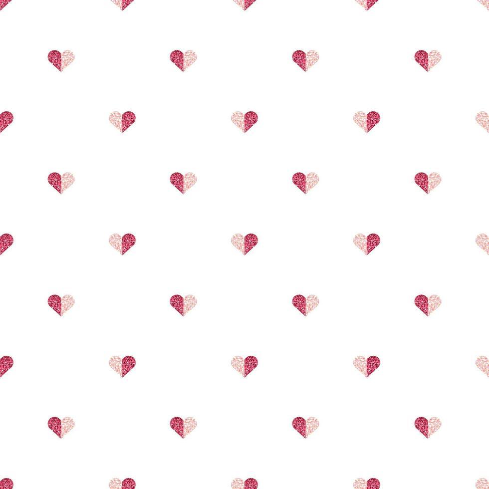 sömlös alla hjärtans dag mönster bakgrund med glitter hjärtat stämpel vektor