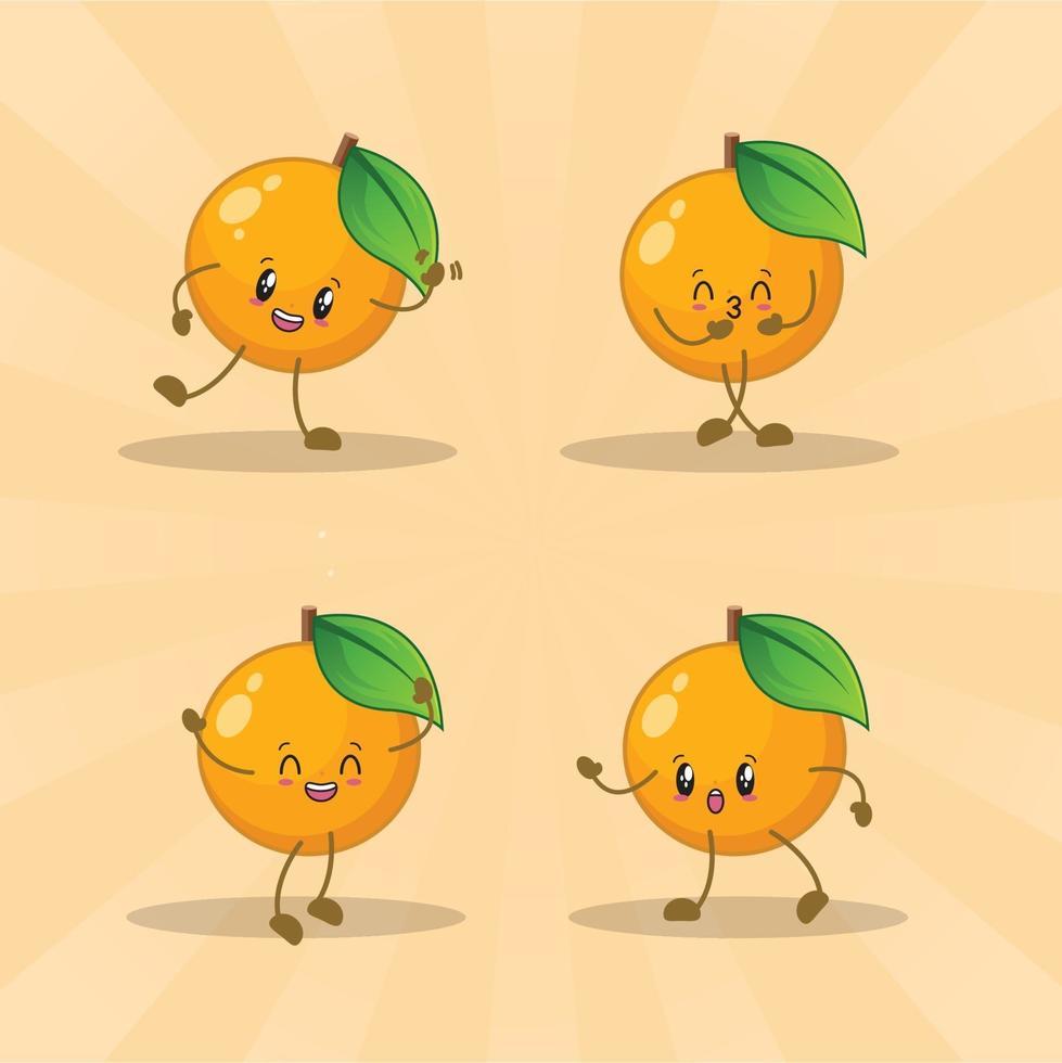 orange niedlichen Ausdrucksset-Sammlung. orange Maskottchen Charakter vektor