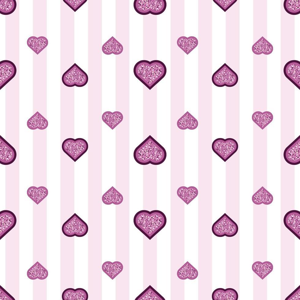 sömlös alla hjärtans dag mönster bakgrund med glitter lager hjärta stämpel vektor