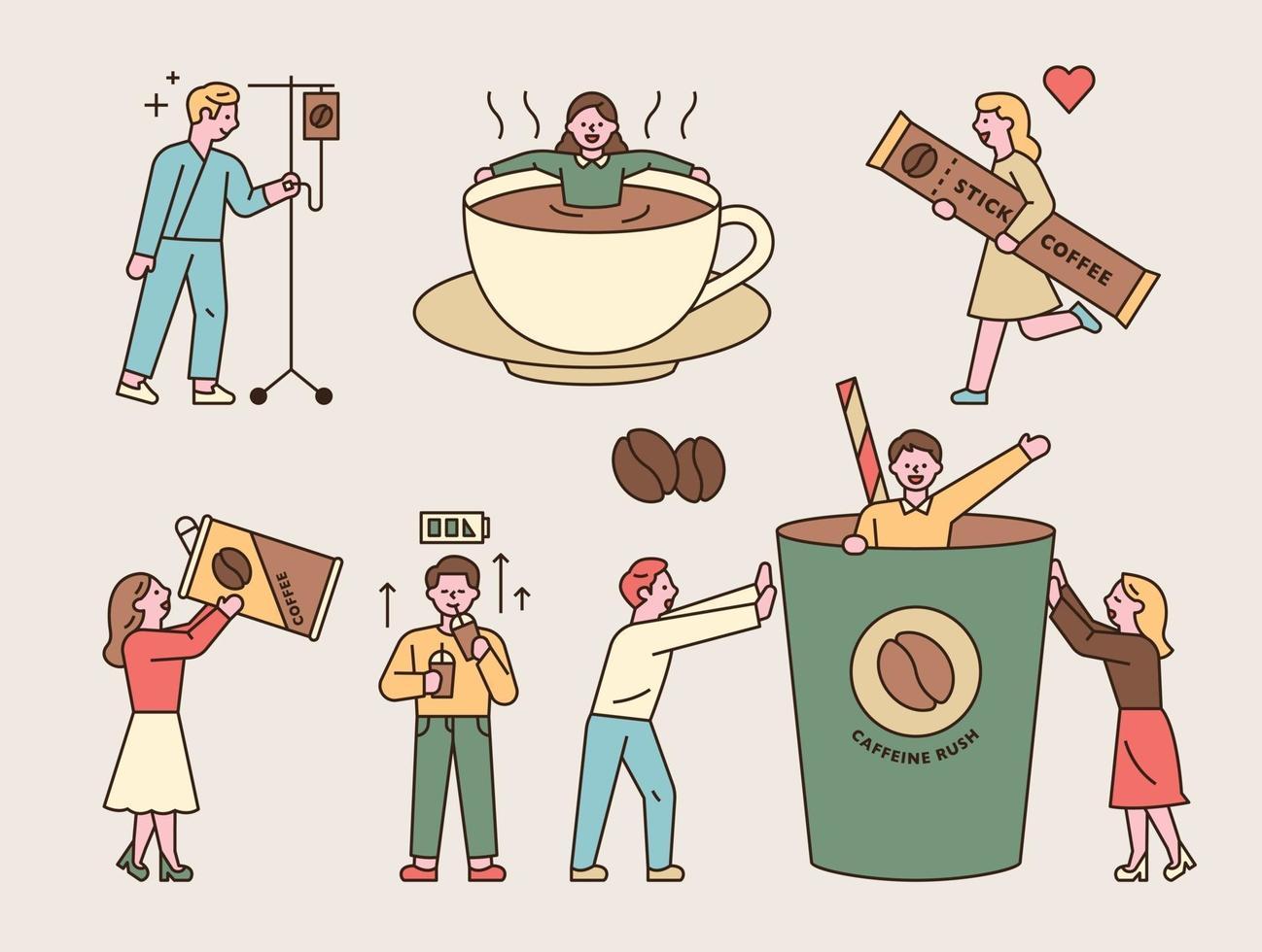 Menschen, die süchtig nach Kaffeekoffein sind. Jemand, der in eine Tasse fällt, eine Person wird von einem Wecker getroffen, eine Person trinkt mit einer großen Dose, jemand springt aus einer Tasse, jemand trägt einen Stockkaffee vektor