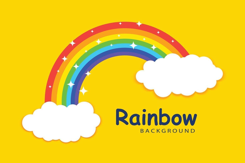 Regenbogen mit Wolkenhintergrundschablone vektor