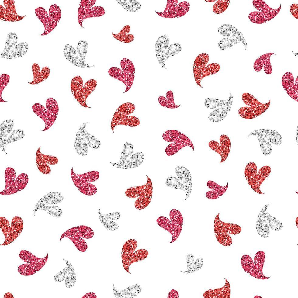 sömlös alla hjärtans dag mönster bakgrund med söt glitter hjärtat stämpel vektor