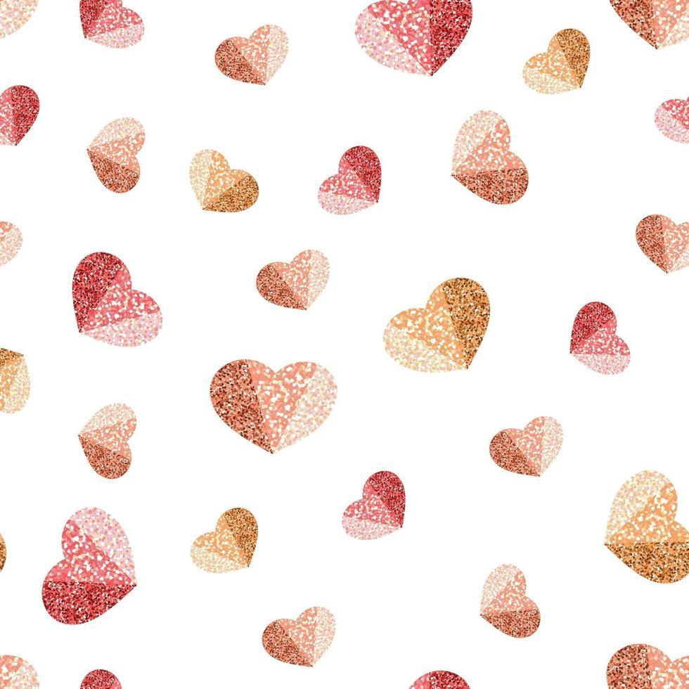 sömlös glitter alla hjärtans dag mönster bakgrund med lutande hjärta form vektor