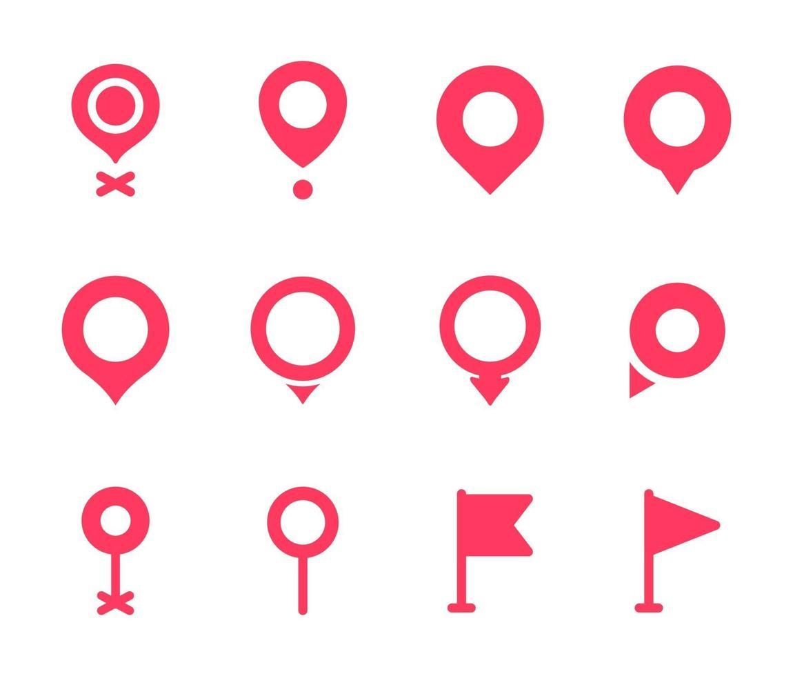 Ort Pin Sammlung. rotes Zeigersymbol für Pin auf der Karte, um den Standort anzuzeigen. vektor
