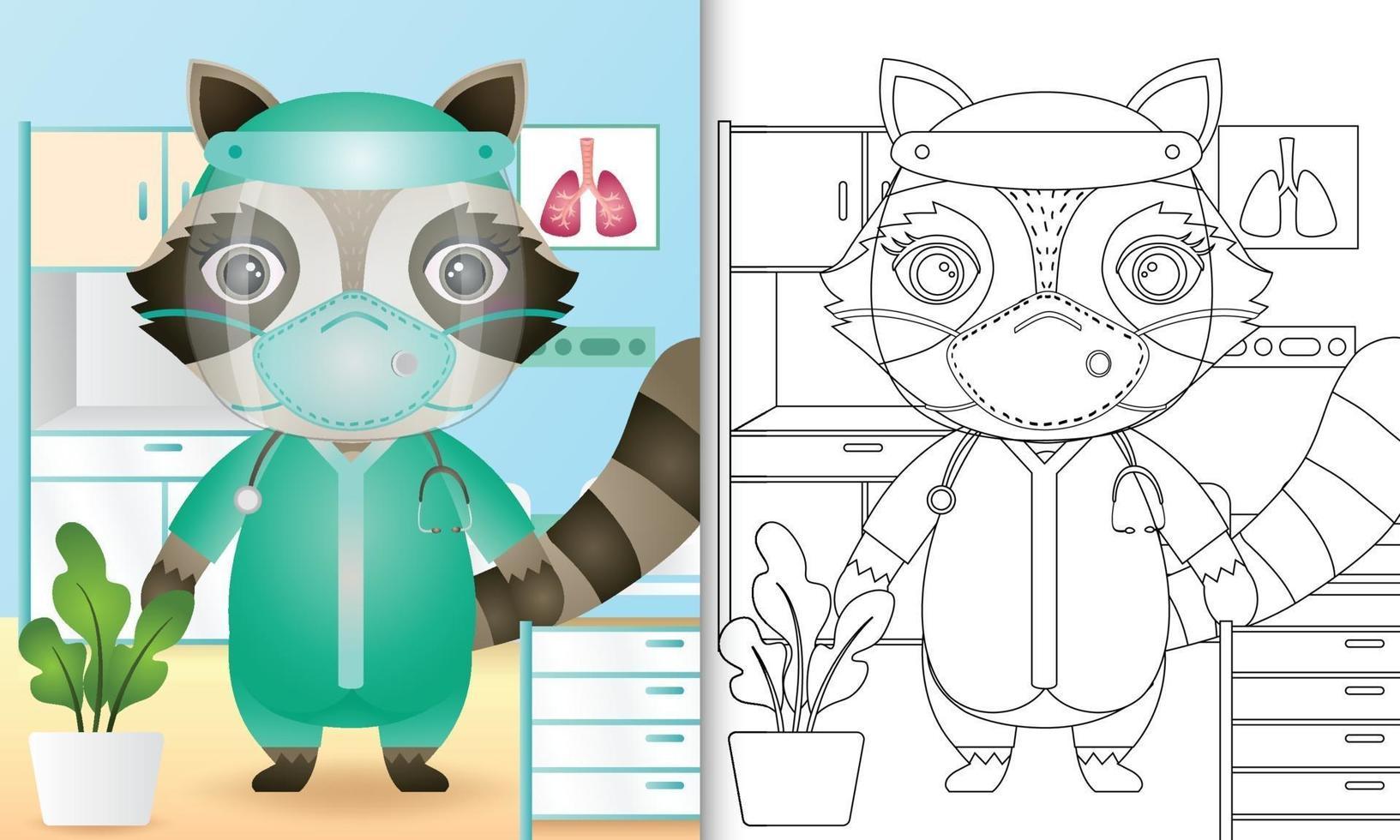 Malbuch für Kinder mit einer niedlichen Waschbärcharakterillustration vektor