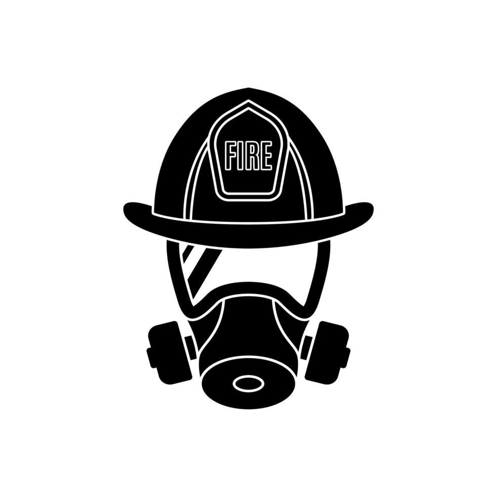 Feuerwehrmann mit Gasschutzmaske und Helm. Männerikone lokalisiert auf weißem Hintergrund. vektor