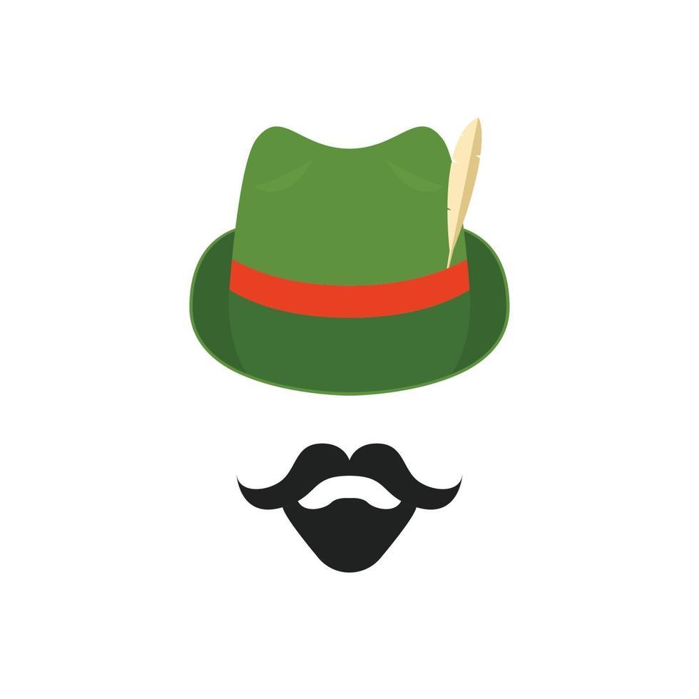 Avatar des Mannes im traditionellen deutschen Hut mit Feder. vektor