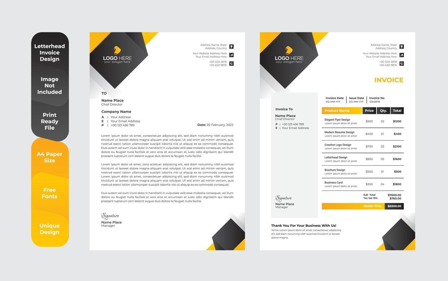 professionelle Briefkopf Vorlage moderne Business Briefkopf Design Vorlage vektor