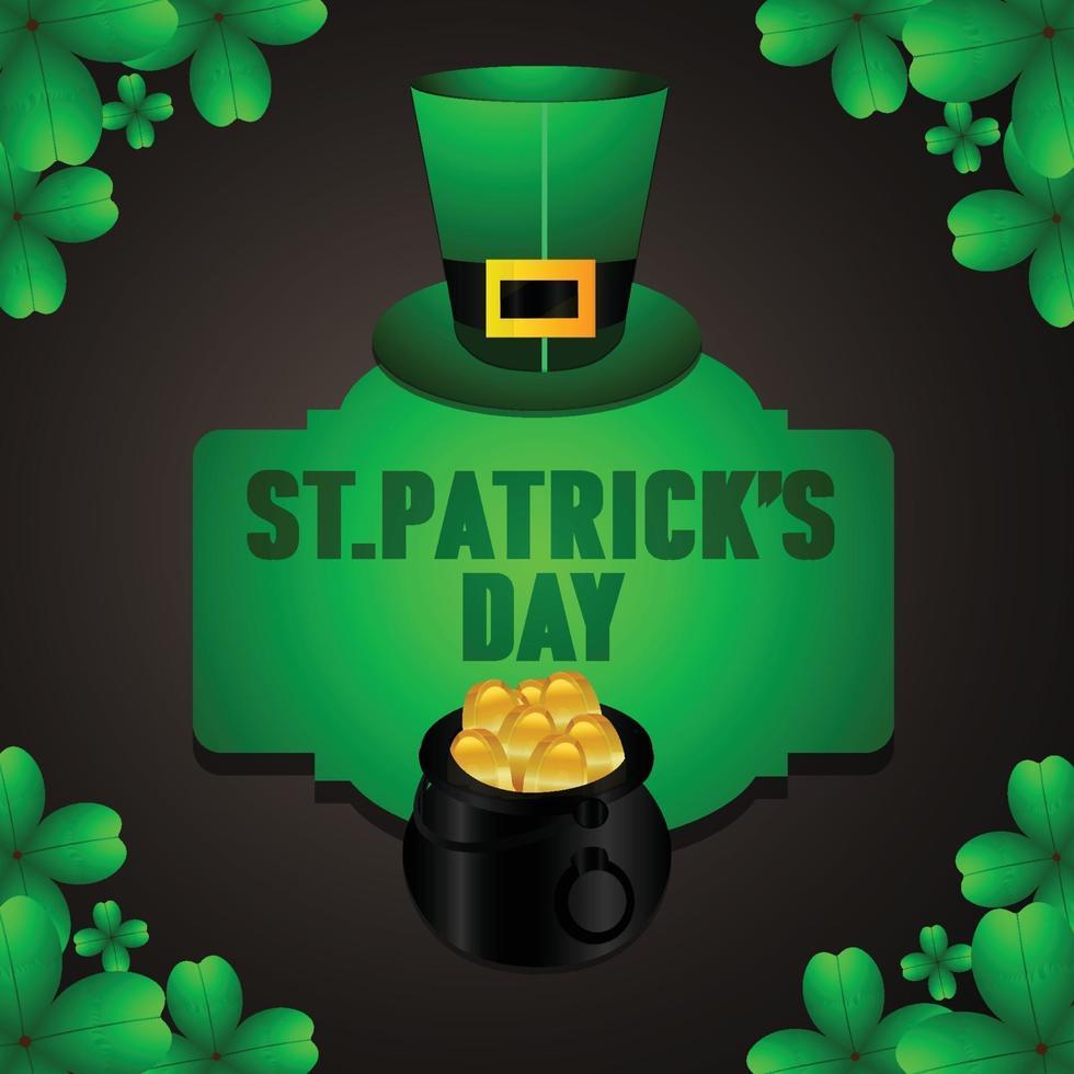 st. Patrick's Day Pot aus Gold und Kleeblättern vektor