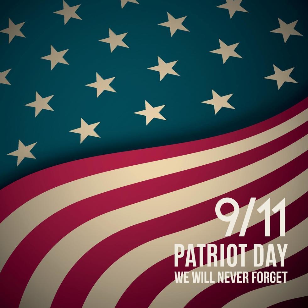 9 11, Patriotentag Hintergrund. USA Patriot Day Retro Banner. vektor