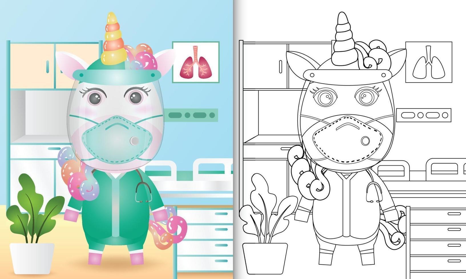 Malbuch für Kinder mit einer niedlichen Einhorn-Charakterillustration vektor