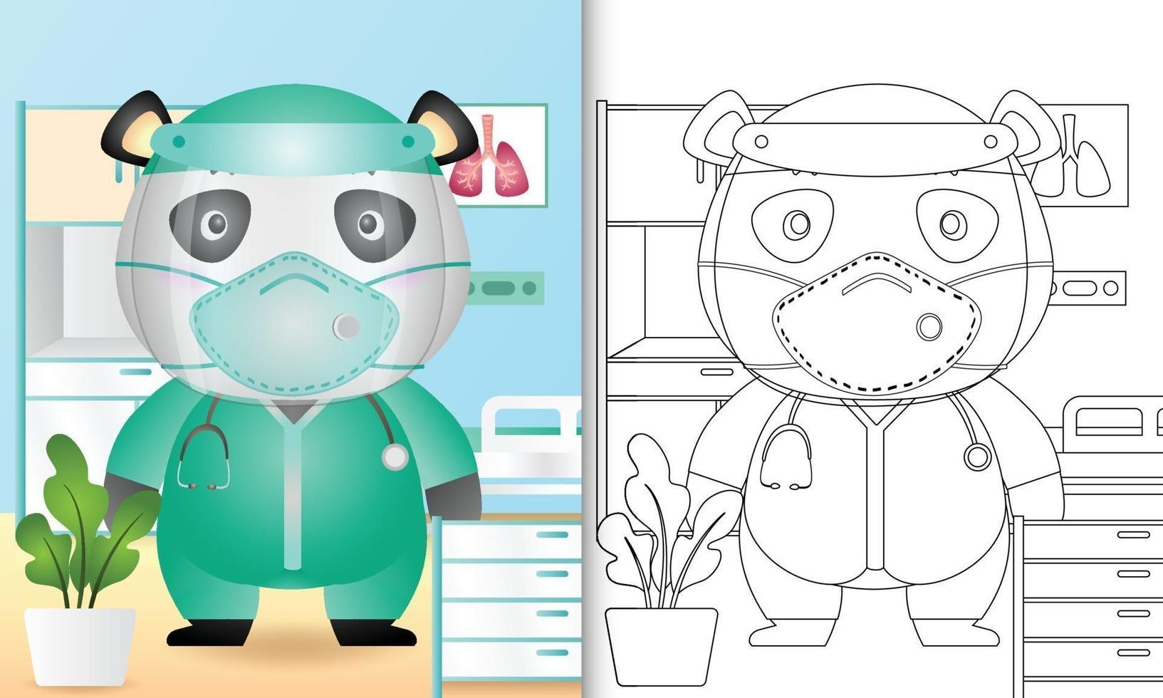 Malbuch für Kinder mit einer niedlichen Panda-Charakterillustration vektor